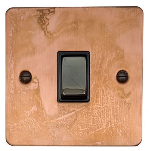 G&H FTC301 Flat Plate Tarnished Copper 1 Gang 1 or 2 Way Rocker Light Switch